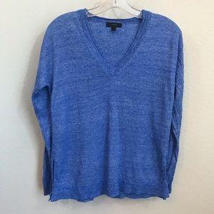 J. Crew V Neck Sweater Sz S Merino Wool Linen Blue